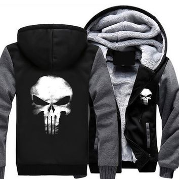 USA size Punisher Skull Cosplay Coat Zipper Hoodie Winter Fleece Unisex Thicken Jacket Sweatshirts