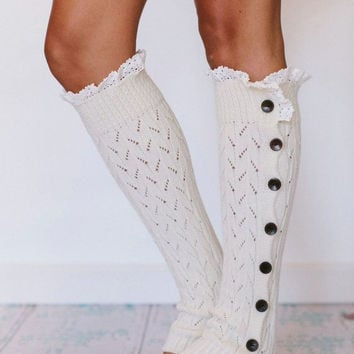 Cable Knit Leg Warmers Off White Boho Legwarmers With Wood Buttons Cream Boot Toppers One Size