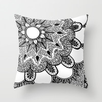 Black and White Doodle 2 Throw Pillow by Kayla Gordon
