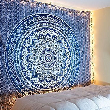 Jaipurhandloom Christmas Gift Large Hippie Tapestry Hippy Mandala Bohemian Tapestries Indian Dorm Decor Psychedelic Tapestry Wall Hanging Ethnic Decorative Tapestry