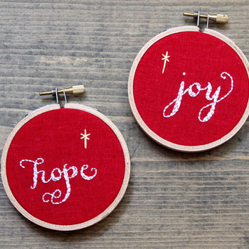 set of 2 christmas embroidery hoops, hope joy christmas ornaments, stocking stuffers, red white yellow decor, letterhappy