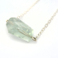 Pale Green Gemstone Necklace, Gemstone Pendant, Sterling Layer Necklace, Genuine Fluorite Necklace, Mint Green, Faceted Geometric Jewelry