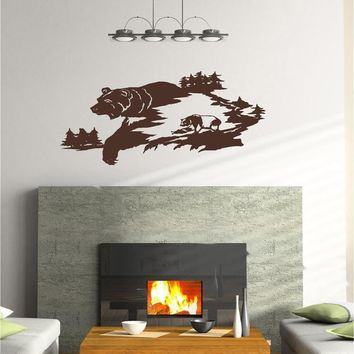 Momma Bear and Cub Wall Decals Mural Home Decor Vinyl Stickers Decorate Your Bedroom Man Cave Nursery