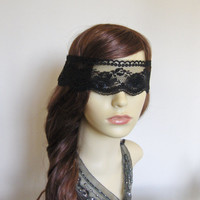 Black lace masquerade mask veil.