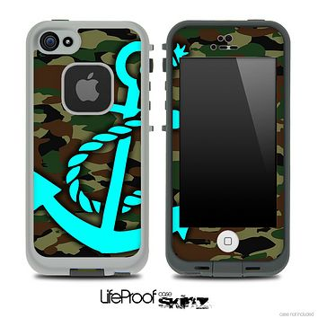 Traditional Camouflage Print and Turquoise Anchor Skin for the iPhone 5 or 4/4s LifeProof Case