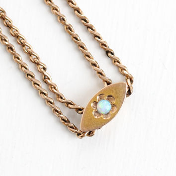 Antique Rose 10k Gold Filled Opal Slide Charm Necklace - Victorian Fiery Gemstone Long Fob Pocket Watch Chain Layered Pendant Jewelry