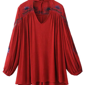 Red Embroidery High Neck Plunge Front Blouson Sleeves Blouse