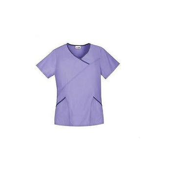 ScrubStar Women's Fashion Mock Wrap Scrub Top, Small, Parisian Lilac, SB24A861