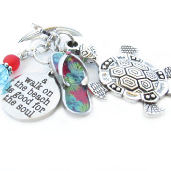 Tropical Beach Charm Keychain with Sea Turtle