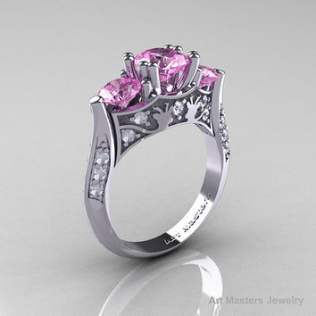 Nature Inspired 14K White Gold Three Stone Light Pink Sapphire Diamond Solitaire Wedding Ring Y230-14KWGDLPS