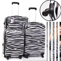 28inch Most popular item! High fashion zebra trolley luggage,ABS PC travel suitcase