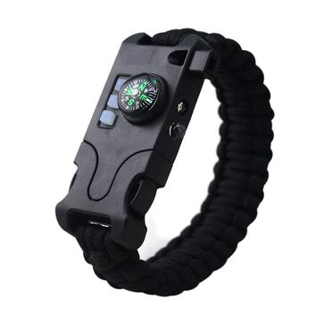 Outdoor Survival Paracord Bracelet Laser/Flashlight/Help Light/Compass/Whistle/Take Card Needle/Parachute Cord Rope 7-in-1