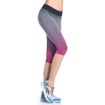 Women Running Capris Tights Pants Tights Quick-Drying stretch Cropped Trousers Fitnness Yoga Gym Dance Sports Leggings HSWA22