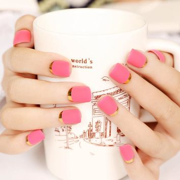 24pcs Rose Matte False Nails Cheap Artificial Pre Designed Metallic Fake Nail Tips Plastic Pink Art Unghie Finte Round New