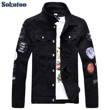 Sokotoo Men's slim full sleeve black denim jean jacket Casual Turn down collar badge patch design outerwear Top