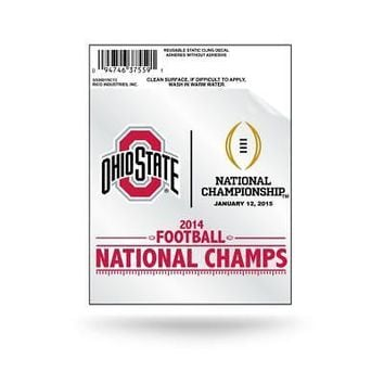 "Licensed Ohio State Buckeyes 2014 Champions 3.5"" Small Static Cling Window Car Decal OSU KO_19_1"