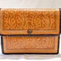 Leather Clutch Wallet Hand Tooled Tan Embossed Red Velvet Lining  6.5 in x 7.75