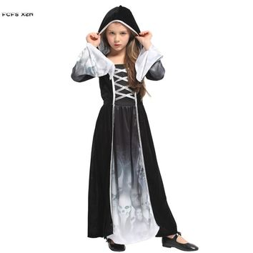 M-XL Girls Skeleton Scary Cosplays Kids Children Halloween Witch Ghost Costumes Purim Carnival Masquerade Role play party dress