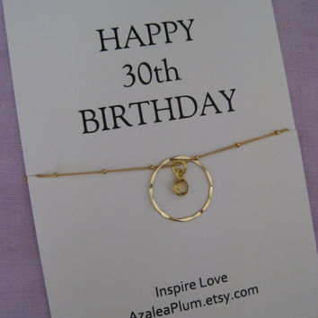 30th Birthday Gift Gold Eternity Circle For Mom Sister Jewelry Mother Daughter From Azaleaplum On Etsy