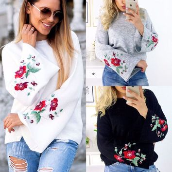 US Womens Floral Long Sleeve Loose Sweater Knitted Cardigan Coat Jacket Outwear