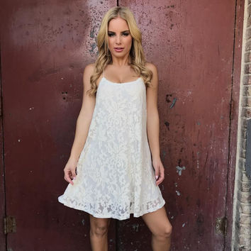 Ecentric Ivory Lace Shift Dress