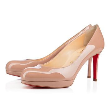 Best Online Sale Christian Louboutin Cl New Simple Pump Nude Patent Leather 85mm Stiletto Heel Classic