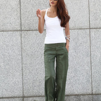 Elegance Casual Splicing Edging Straight Pants in Army Green - NC401