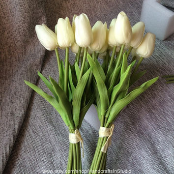 24 Real Touch Tulips Ivory Cream White Tulips Flowers For Wedding Bridal Bridesmaids Bouquet Flowers Table Centerpieces