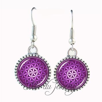 Purple flower of life earring glass dome earring silver plated om yoga earring sacred geometry ear pendant spiritual jewelry