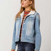 SKY AND SPARROW Sherpa Womens Denim Jacket