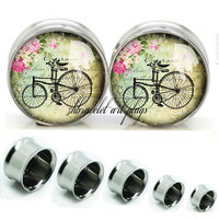 Bike   Double Flare steel  plugs,womens plugs,Body Piercing Gifts,0g plugs,00 plug,birthday presents for him,groom &bride gift