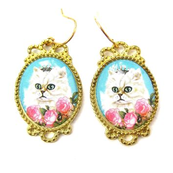 Persian Kitty Cat Portrait Illustrated Dangle Earrings with Roses | Animal Jewelry