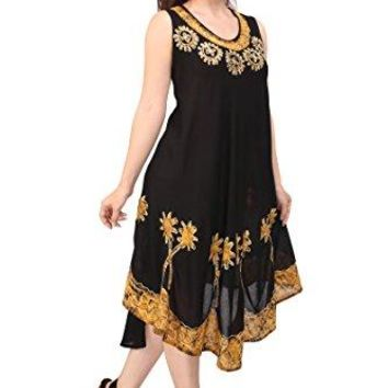 Ladies Batik Dress Tunic Flared Swing Casual Sleeveless Cover Up Tank Kaftan One Size Top