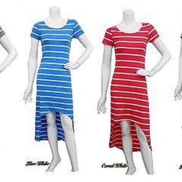 Sexy Short Sleeve Round Neck Striped Asym Hi-Low Hem Maxi Summer Beach Dress