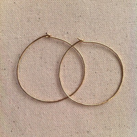 Large Wire Hoops, Gold Filled or Sterling Silver Hoop Earrings, 3 sizes