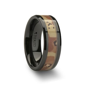 Mens Black Tungsten Desert Camo Wedding Ring