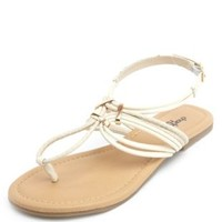 Looped Strappy Thong Sandals by Charlotte Russe - Nude