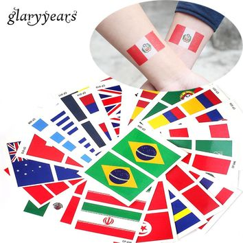 glaryyears 10 Sheets 6*8cm 2018 World Cup National Banner Flags Tattoo Temporary Football Sports Funs Watching Game Body Sticker