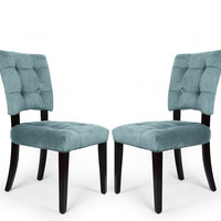 Velvet Side / Dining Chair with Solid wood legs Blue Tufted European Style (Set of 2)