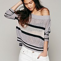 Free People Womens Boxy Stripe Pullover