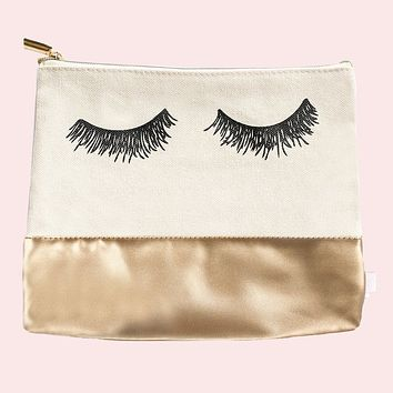 Eyelash Gold Leather Makeup Bag in Canvas and Metallic Vegan Leather