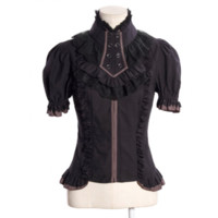 Black Elastic Sleeves Steampunk Shirt