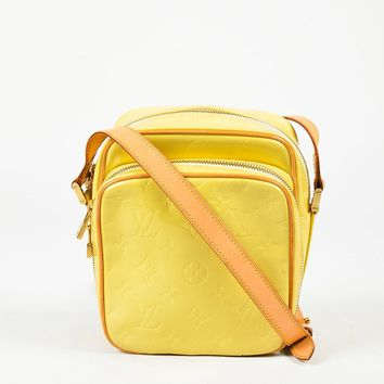 "Louis Vuitton Yellow Monogram Vernis & Vachetta Leather ""Wooster"" Crossbody Bag"