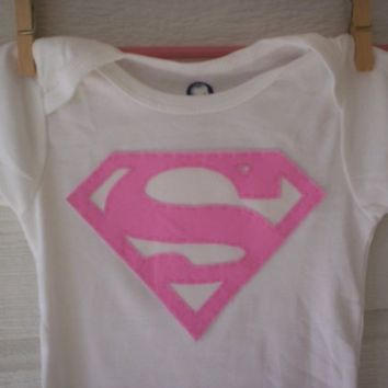 Pink Superman Applique Onesuit by WillingHandsCrafts on Etsy