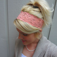 Coral/peach stretch lace headband feminine/romantic/classic