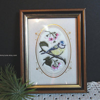 Vintage Bird Embroidery, Framed Needlepoint Art, Wall Hanging