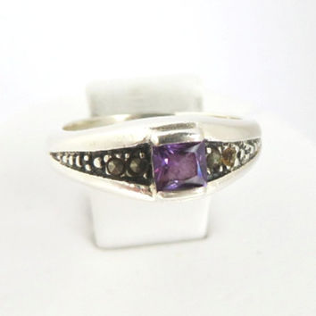 Vintage Amethyst Ring, Sterling Silver Antique Finish, Marcasite Ring Size 6