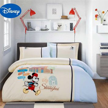 mickey mouse bedding sets queen disney cartoon 4/5pcs 100% cotton twin full size duvet cover kids children bedroom decor gift