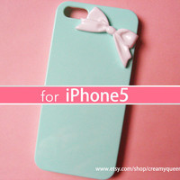 iphone5 case on sale , kawaii Japanese deco iphone accessories , sweet bow , mint green iphone cover
