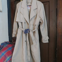 Vintage Chang cHENG Chinese khaki  double breasted belted spy trench coat  80s new w tag  sz  small
